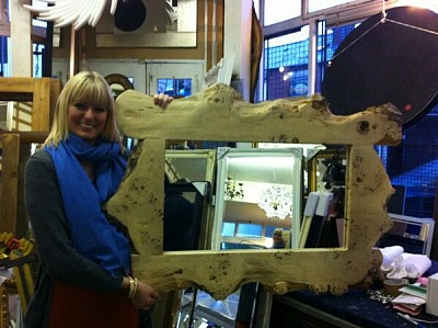 A lovely happy customer with a lovely happy Pippi oak framed mirror.